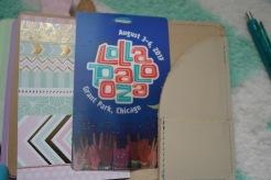 Inside back pocket, I have a piece of scrapbook paper and Lollapalooza memorabilia